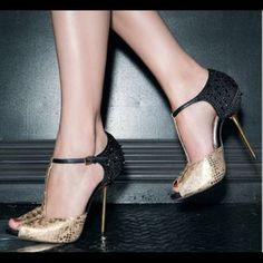 Sam Eldeman Scarlett spike heels Sam Eldeman Scarlett gold with black spike heels, super sexy, little scuffed in front as shown in pic, also the heels are a little scuffed Sam Edelman Shoes Heels