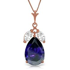 ALARRI 9 CTW 14K Solid Gold Necklace Briolette Drop Sapphire with 24 Inch Chain Length