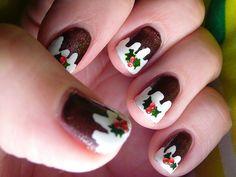 Christmas Pudding nail art!
