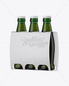 White Paper 3 Pack Light Green Bottle Carrier Mockup - Halfside View