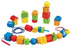 Hape String Along Shapes Wooden Block Toddler Lacing Toy -- Want to know more, click on the image.
