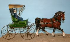 #640 Doctor Buggy in green with #647 Morgan in bay and Father driver - Metlox California Pottery