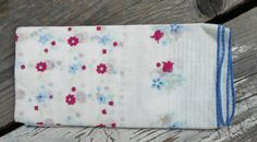 1940s ladies hankie vintage handkerchief red blue by TearDropCurio