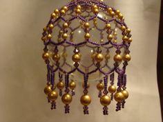 Purple and Gold Swarovski Pearls Christmas Ornament. via Etsy.