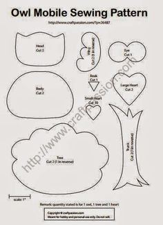 Molde Móbile de corujas com árvore e coração de feltro