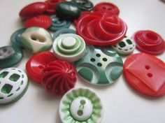 Vintage Buttons  Cottage chic assortment of red by pillowtalkswf, $7.95