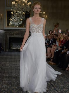 Mira Zwillinger wedding dress with illusion v-neckline, floral detailing and chiffon pleated skirt from Spring 2016