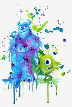 Sully and Mike watercolor