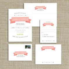 Charming Banner Wedding Invitations. $3.25, via Etsy.
