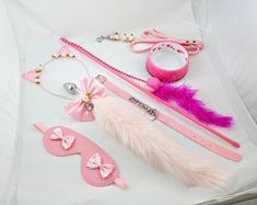 View Collars and Leashes by loveswhore on Etsy Daddy Aesthetic, Pink Aesthetic, Kitten Play Gear, Cat Ears And Tail, Holographic Fashion, Collars Submissive, Goth Accessories, Good Daddy, Daddys Little Girls