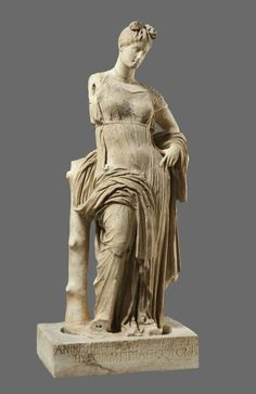 Statue of Aphrodite Hypolympidia and Base with Dedicatory Inscription. Statue: 150-100 BC; Base: 2nd century AD, Marble. Photo © Archaeological Excavations at Dion, Greece. Courtesy Onassis Cultural Center NY.