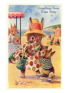 Greetings from Cape May, New Jersey, Bunnies on Beach Premium Poster at Art.com