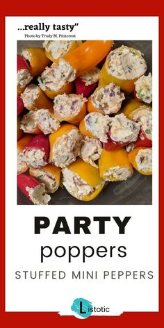 """Party Poppers appetizer is a great party appetizer. Our Pinterest users are loving this """"really tasty"""" stuffed mini peppers recipe with bacon and jalapenos. Get the recipe for this simple low carb appetizer on Listotic. Baked Appetizer Recipes, Appetizers For A Crowd, Low Carb Appetizers, Food For A Crowd, Appetizers For Party, Recipes With Bacon And Jalapeno, Cream Cheese Recipes, Bacon Recipes, Low Carb Recipes"""