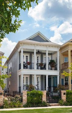 2800 SQ FT beautiful New Orleans shotgun house has massive curb appeal with its gated entrance, wrap-around porch, balcony and sweep of French doors. Southern House Plans, New House Plans, Southern Homes, Charleston House Plans, Charleston Style, Country Homes, Porch And Balcony, House With Porch, Style At Home