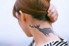 Deer Tattoo For Women Back Neck tattoos tattoos! Girly Tattoos, Love Tattoos, Sexy Tattoos, Beautiful Tattoos, Picture Tattoos, Tatoos, Wicked Tattoos, Amazing Tattoos, Stag Tattoo