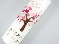 """Taufkerzen - Taufkerze """"Lebensbaum Rosa Herzen"""" - ein Designerstück von KerzenMax bei DaWanda"""