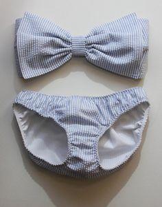 Seersucker Bow Bandeau Bikini.  From Etsy but Via Sorority Drunk's blog of her favorite Seersucker Items on Etsy.