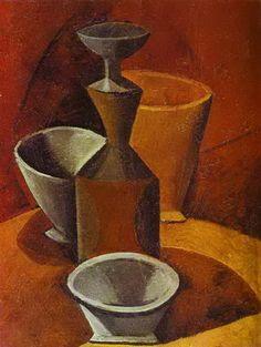 """Pablo Picasso - """"Carafe et gobelets"""". 1908"""