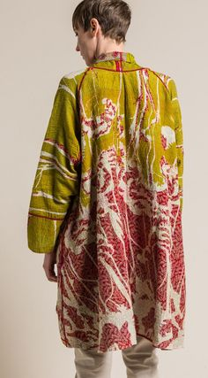 $710.00 | Mieko Mintz 2-Layer Vintage Cotton Long Kimono Jacket in Green/Red | Mieko Mintz creates clothing from vintage saris, which are upcycled into new fashion. The reversible clothing is an artful multi-pattern combination of by Mieko that is then made into kantha fabric. Sold online and in-store at Santa Fe Dry Goods in Santa Fe, New Mexico.