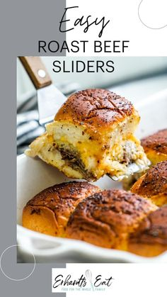 Baked Sandwiches, Sandwiches For Lunch, Slider Sandwiches, Sandwich Recipes, Roast Beef Sliders, Sliced Roast Beef, Veggie Bowl Recipe, Appetizer Recipes, Dinner Recipes