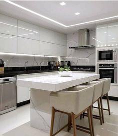 Kitchen Ceiling Design, Luxury Kitchen Design, Kitchen Room Design, Kitchen Cabinet Design, Home Decor Kitchen, Interior Design Kitchen, Home Kitchens, Small Modern Kitchens, Luxury Kitchens