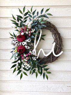 Everyday Wreath Everyday Summer Wreath Everyday hi Wreath Wreath Crafts, Wreath Ideas, Fun Crafts, Summer Wreath, Spring Wreaths, Holiday Wreaths, Holiday Decor, Monogram Wreath, Faux Flowers