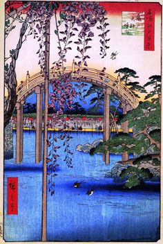 Hiroshige - 100 Views of Edo. Precincts of the Tenjin Shrine at Kameido (nº 57)