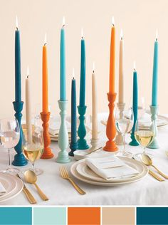 Colorful Candle Holders How-To - Martha Stewart Weddings Inspiration- Still my favorite centerpieces Do It Yourself Upcycling, Do It Yourself Design, Hosting Thanksgiving, Thanksgiving Table, Fall Table, Christmas Tables, Christmas Decorations, Spring Decorations, Holiday Tables