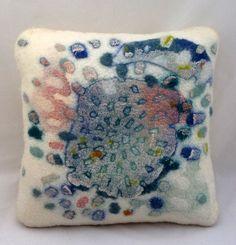 "Hand felted abstract cushion 'Swarm'. Approx. 16"" x 16"" (40.5 cm x 40.5 cm).. $95.00, via Etsy."