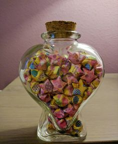 Check out this item in my Etsy shop https://www.etsy.com/listing/292781563/pink-and-yellow-origami-star-jar