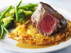 Biefstuk met kalfsjus en rösti.