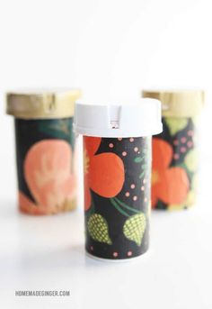 Recycle pill containers into organizers (Mod Podge Rocks! Reuse Pill Bottles, Pill Bottle Crafts, Plastic Bottles, Mason Jar Crafts, Mason Jar Diy, Crafts To Sell, Diy Crafts, Prescription Bottles, Mod Podge Crafts
