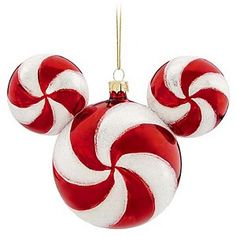 Disney Christmas Holiday Ornament - Mickey Ears Large - Peppermint~~ I just bought this one at Disneyland...It looks so great on my tree! :)