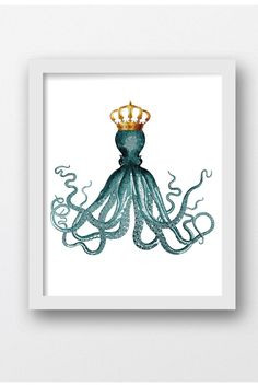 Octopus Prints, Marine Art, Beach Home Decor, Nautical Prints, Digital Download Print,Printable Art, Printable Art,Download Art Prints, by MaxMeOneUniverse on Etsy