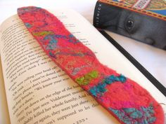Wet felted bookmark with recycled silk by ZanieCraftsFeltedArt