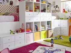 Just adore this kids room! Love the rug Girl Room, Girls Bedroom, Kids Homework Station, Playroom Design, Kids Decor, Room Interior, Room Inspiration, Shelving, Leroy Merlin