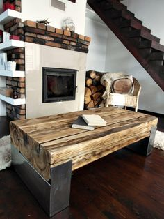 Handmade Reclaimed Wood & Steel Coffee Table Vintage Rustic Industrial  loft end table unique brown old wood old beams silver legs by MadeFromWoodDesigns on Etsy https://www.etsy.com/listing/489082096/handmade-reclaimed-wood-steel-coffee