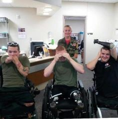 Look at the amazing spirit these HEROES have! Truly inspiring. THANK YOU for all you have sacrificed & THANK YOU for the amazing leadership you still show! Yesterday our friend Luke from Honor, Courage, Commitment made a trip to visit wounded warriors at Walter Reed. Pictured here is Luke with 3 of his heroes. It's Speak no evil, see no evil, hear no evil - Marine style! Got to love it! https://www.facebook.com/​HonorCourageCommitment.SemperFi