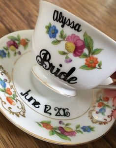 Personalized Vintage China Tea Cup for the Bride by BeforeTheRings