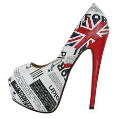 My Style Image detail for WHITE BRITISH FLAG EVENING PEEP TOE LADIES PLATFORM HEELS SHOES SIZE 8 8615 |White Heels|