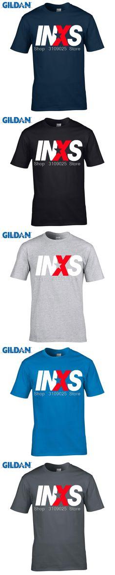 GILDAN men fashion brand t shirt Men'S Inxs Logo Australia Rock Band  T Shirt Hipster Men'S Tops Customize  Short Sleeve Tees