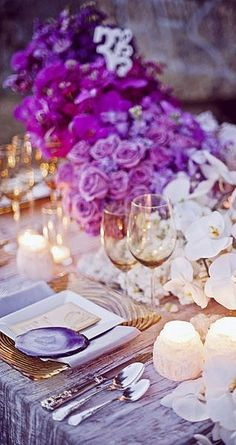 purple and white table......