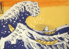 Artsonia Art Museum :: Hokusai's The Great Wave made by 3rd graders.  These are so cool looking!