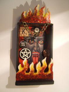 Items similar to Krampus wood shrine nicho diorama mixed media assemblage OOAK on Etsy Deep Purple, Satan, Diorama, Mixed Media, Clock, Etsy Shop, Wood, Handmade Gifts, Pretty