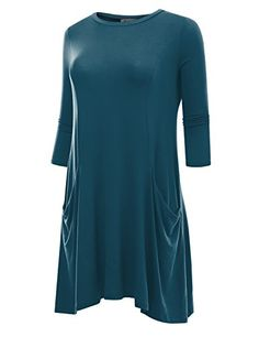 85ff92a4677b BIADANI Women's 3/4 Sleeve Front Pockets Round Neck Casual Flowy Tunic  Dress Teal Small