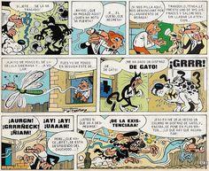 """Viñetas de la historieta """"Misión de Perros"""" de Francisco Ibáñez. Fue serializada en la revista Mortadelo (núm. 272 a 28) entre el 9 de febrero y el 19 de abril de 1976. Posteriormente fue editada como Álbum nº 51 de la Colección Olé! de ediciones B. La primera edición fue impresa en 1994."""