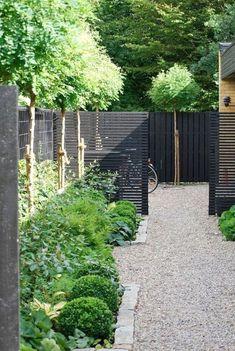 Modern Garden Design, Backyard Garden Design, Contemporary Garden, Modern Design, Gravel Garden, Garden Fencing, Vintage Garden Decor, Black Garden, Unique Gardens