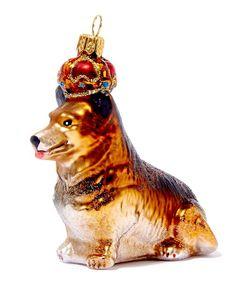 Corgi Cardigan Crystal Glass Christmas Ornament