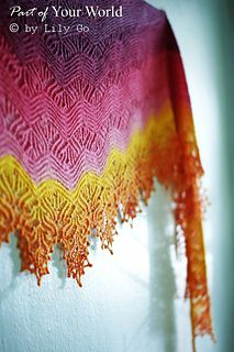 Part of Your World is an asymmetric crescent shaped shawl worked from the bottom up. The pattern is worked on the both the wrong and right sides. Pattern includes charts and written directions. If you would like to add beads to your shawl, I include instructions on where to place the beads.