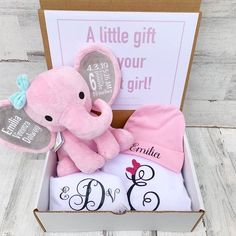 Oct 25, 2020 - This Newborn Gift Set is such a great gift for a new baby! ***Ready to ship in 1-2 days*** __Set includes everything pictured__ -white Box (approximately 9 by 5 inches, 3 in high) with Congratulations announcement (customizable). -Elephant (pink or gray available) -white Onesie with First Initial